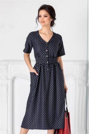 Rochie midi bleumarin de primavara cu buline negre Agness accesorizata cu nasturi la bust