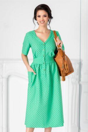 Rochie midi verde de primavara cu buline negre Agness accesorizata cu nasturi la bust