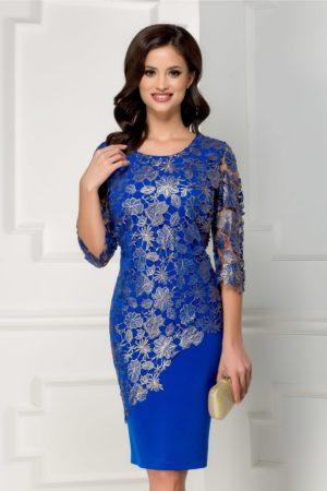 Rochie midi conica albastra cu broderie argintie si maneci transparente Alima pentru femei plinute