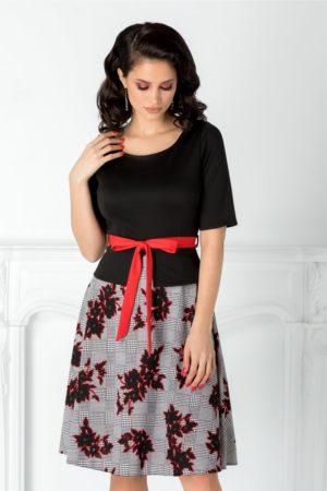 Rochie midi cu imprimeu si peplum in talie Amalia accesorizata cu cordon subtire rosu