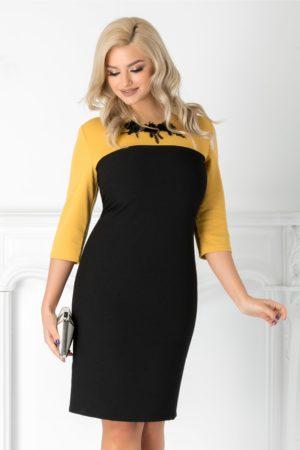 Rochie negru cu galben eleganta de ocazie midi cu aplicatii de flori 3D in zona decolteului Amber