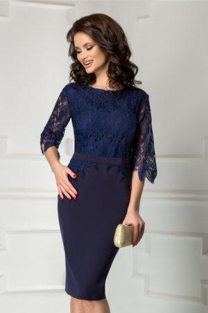 Rochie midi bleumarin conica de ocazie cu dantela stilata la manecile trei sferturi Ambra
