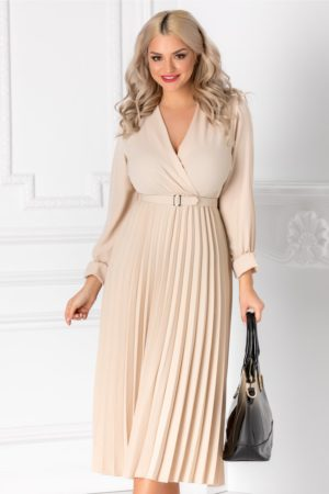 Rochie eleganta bej de primavara cu decolteu in V petrecut si fusta midi plisata pana la genunchi Ametista