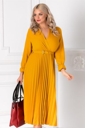 Rochie eleganta galben mustar de primavara cu decolteu in V petrecut si fusta midi plisata pana la genunchi Ametista