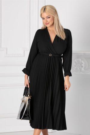 Rochie eleganta neagra de primavara cu decolteu in V petrecut si fusta midi plisata pana la genunchi Ametista