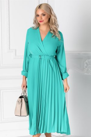 Rochie eleganta turcoaz de primavara cu decolteu in V petrecut si fusta midi plisata pana la genunchi Ametista