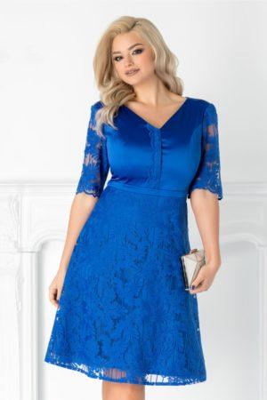 Rochie de ocazie albastra eleganta realizata din tafta si dantela cu maneci scurte Aneta