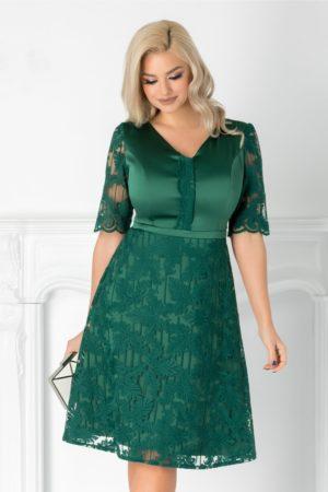 Rochie de ocazie verde eleganta realizata din tafta si dantela cu maneci scurte Aneta