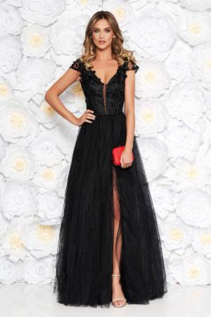 Rochie de seara neagra eleganta lunga cu bust buretat din tulle si dantela cu crapatura pe picior Artista