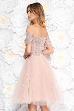 Rochie eleganta roz de ocazie stil printesa cu bust buretat cu aplicatii de paiete si fusta de tulle Artista