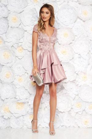 Rochie de seara roz eleganta din material satinat cu bust buretat cu paiete Artista pentru banchet sau botez