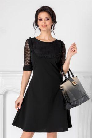 Rochie de zi neagra scurta eleganta cu detalii din dantela in zona manecilor Atena