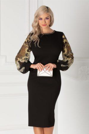 Rochie midi neagra de ocazie cu maneci din voal cu imprimeu accesorizata cu margelute la guler Ayana