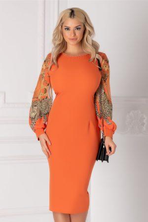 Rochie midi portocalie de ocazie cu maneci din voal cu imprimeu accesorizata cu margelute la guler Ayana