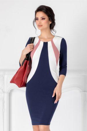 Rochie midi bleumarin de ocazie pentru office cu imprimeu alb-roz la bust si maneci trei sferturi Berry