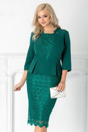 Rochie de nunta verde eleganta din dantela cu peplum pentru femei plinute Bryce