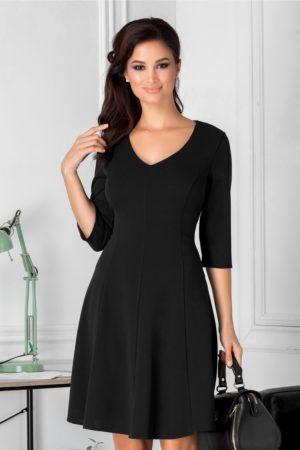 Rochie scurta office neagra cu manecute prevazuta cu decolteu in V si fusta cu pliuri moderne Camille
