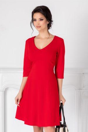 Rochie scurta office rosie cu manecute prevazuta cu decolteu in V si fusta cu pliuri moderne Camille