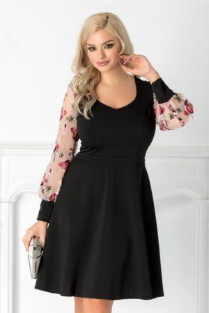 Rochie de ocazie neagra eleganta cu maneci lungi din organza cu broderie colorata Carolina
