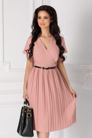 Rochie de zi roz prafuit office cu fusta plisata si maneci scurte accesorizata cu o curea subtire Carolina