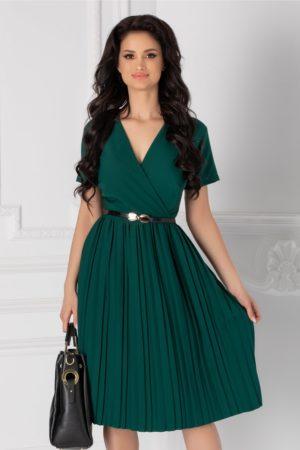 Rochie de zi verde office cu fusta plisata si maneci scurte accesorizata cu o curea subtire Carolina