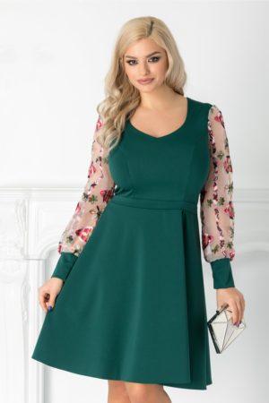 Rochie de ocazie verde eleganta cu maneci lungi din organza cu broderie colorata Carolina