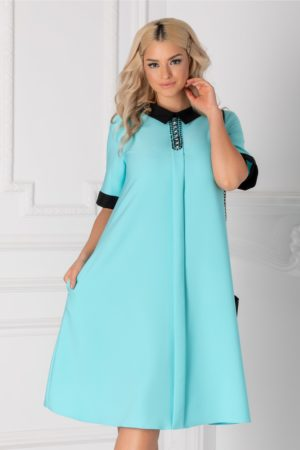 Rochie de ocazie bleu cu guler negru si strasuri la bust pentru tinute business Chloe