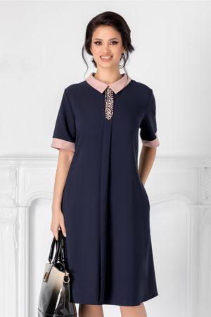 Rochie de ocazie bleumarin cu guler negru si strasuri la bust pentru tinute business Chloe