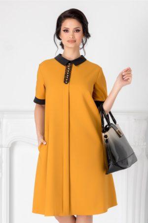 Rochie de ocazie galben mustar cu guler negru si strasuri la bust pentru tinute business Chloe