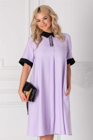 Rochie de ocazie lila cu guler negru si strasuri la bust pentru tinute business Chloe