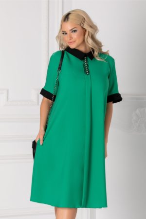 Rochie de ocazie verde cu guler negru si strasuri la bust pentru tinute business Chloe