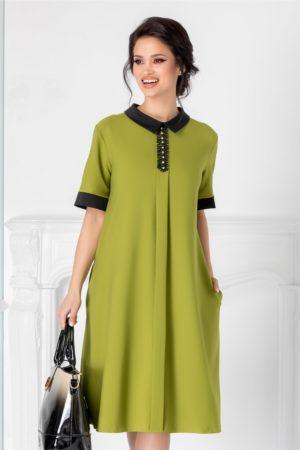 Rochie de ocazie verde deschis cu guler negru si strasuri la bust pentru tinute business Chloe