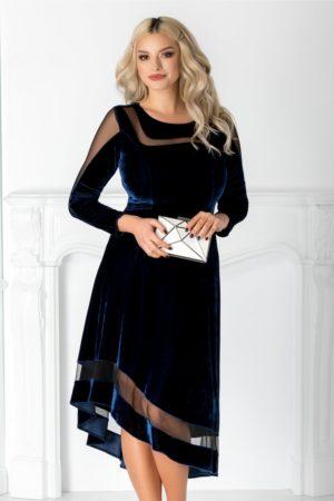 Rochie de seara bleumarin din catifea fina cu tull diafan prevazuta cu maneci lungi si talie marcata Eliza