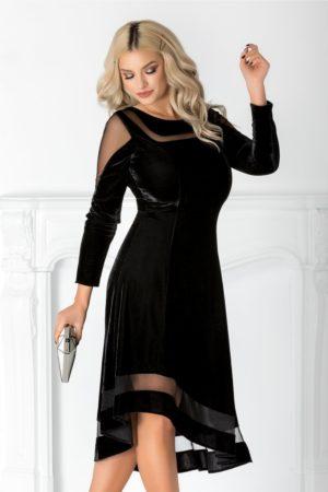 Rochie de seara neagra din catifea fina cu tull diafan prevazuta cu maneci lungi si talie marcata Eliza