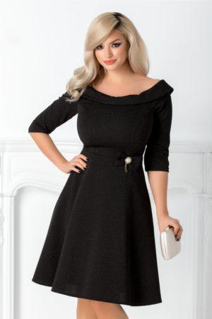 Rochie scurta neagra eleganta cu decolteu barcuta accesorizata cu detalii aurii si fundita Emilia