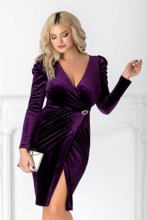 Rochie de seara mov eleganta din catifea cu maneci lungi si detaliu stralucitor in talie Emillie