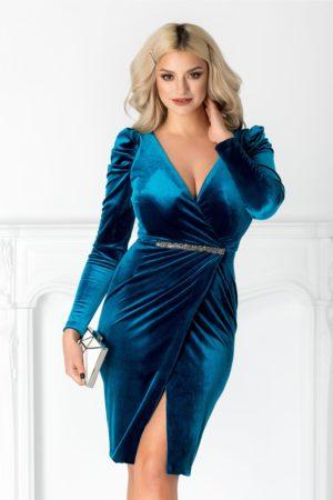 Rochie de seara turcoaz eleganta din catifea cu maneci lungi si detaliu stralucitor in talie Emillie