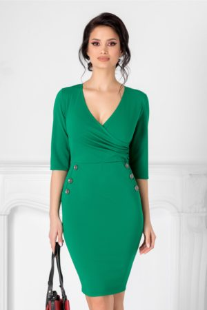 Rochie verde scurta mulata pentru ocazie cu decolteu adanc in V petrecut accesorizata cu nasturi decorativi Emma