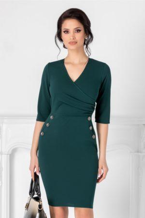 Rochie verde petrol scurta mulata pentru ocazie cu decolteu adanc in V petrecut accesorizata cu nasturi decorativi Emma