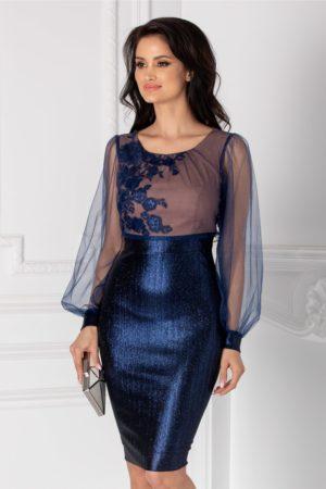 Rochie de lux albastra pentru nasa cu maneci lungi din tull si aplicatii de broderie cu sclipici Ginette