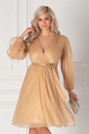 Rochie de seara crem eleganta in clos cu sclipici auriu si maneci lungi decupate realizata din tulle Ginette