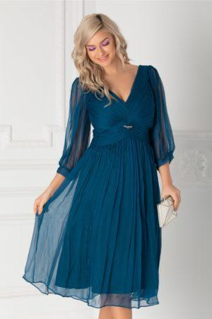 Rochie de lux albastra din matase cu maneci decupate  Ginette pentru banchet, botez sau cununie