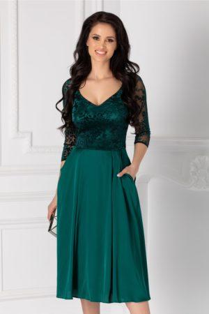 Rochie midi din matase verde foarte eleganta cu detalii catifelate la bust si maneci trei sferturi Ginette