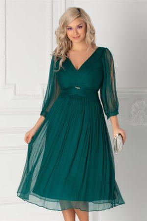 Rochie de lux verde din matase cu maneci decupate  Ginette pentru banchet, botez sau cununie