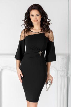Rochie de seara neagra midi eleganta cu insertii din fir auriu si maneci trei sferturi lejere Ginette