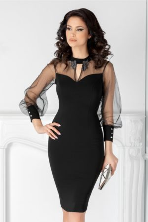 Rochie pentru nasa neagra de lux cu maneci lungi din tull si aplicatii cu sclipici Ginette