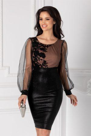 Rochie de lux neagra pentru nasa cu maneci lungi din tull si aplicatii de broderie cu sclipici Ginette