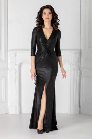 Rochie de seara neagra lunga eleganta cu sclipici si crapatura adanca pe picior Ginette