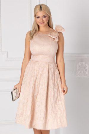 Rochie de seara roz pudrat eleganta accesorizata cu cu funda maxi la umar Ginette