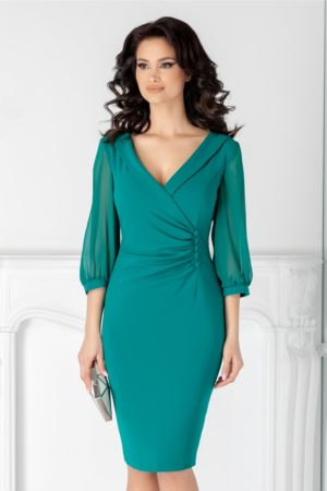 Rochie midi verde de seara cu maneci din voal si nasturi in talie Ginette intr-o croiala conica stil sacou